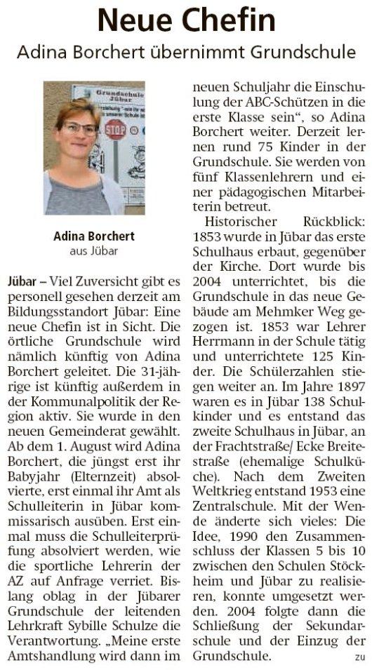 20190719 Altmark Zeitung - Jübar - Grundschule bekommt neue Chefin (Kai Zuber)