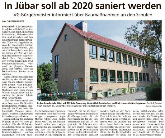 20190821 Altmark Zeitung - Jübar - Schulsanierung ab 2020 (Christian Reuter)