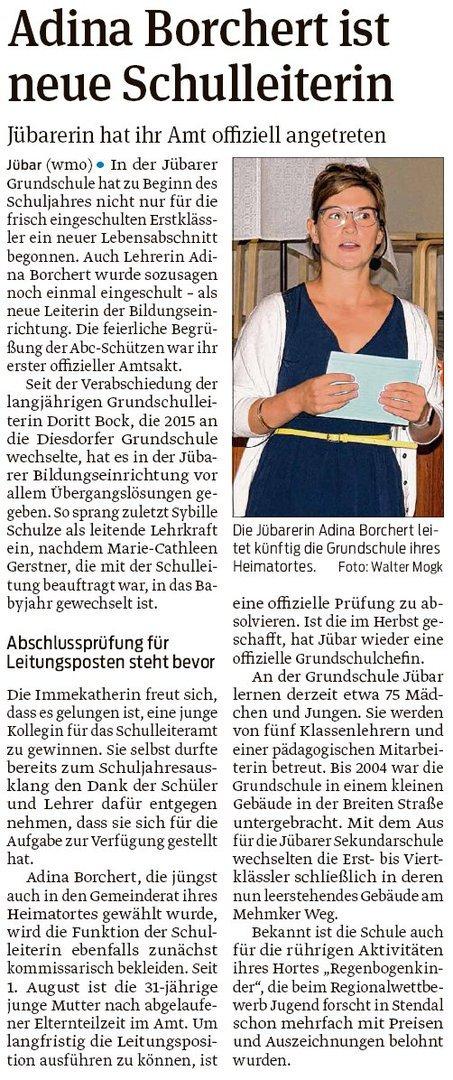 20190823 Volksstimme - Jübar - Adina Borchert offiziell Schulleitung (Walter Mogk)