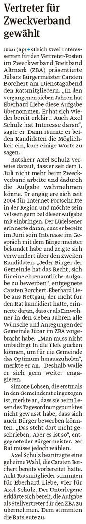 20190829 Volksstimme - Gemeinde Jübar - Postenvergabe unter den Räten und Bürgern (Anke Pelczarski)