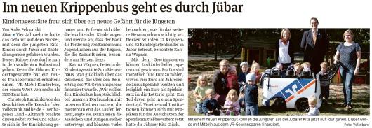 20190907 Volksstimme - Jübar - Kitabus fährt durchs Dorf (Volksbank)