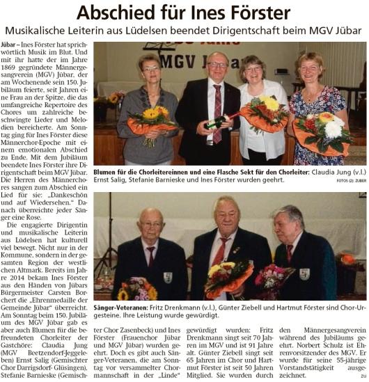 20190919 Altmark Zeitung - Jübar - MGV - Ines Förster beendet Dirigentschaft (Kai Zuber)