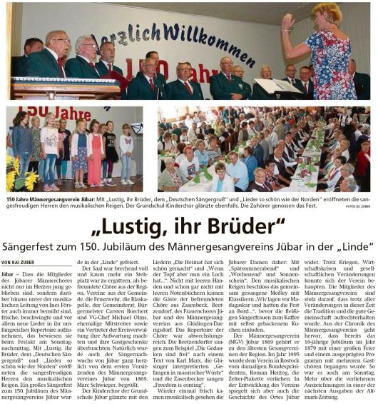 20190917 Altmark Zeitung - Jübar - MGV-Sängerfest zum 150-jähriges Bestehen (Kai Zuber)