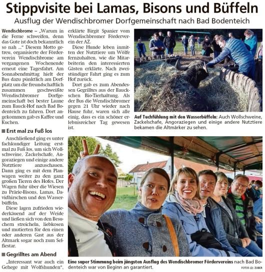 20191004 Altmark Zeitung - Wendischbrome - Fördervereinzum Bauck-Hof (Kai Zuber)