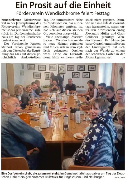 20191007 Altmark Zeitung - Wendischbrome - Förderverein Einheitsfrühstück (Kai Zuber)