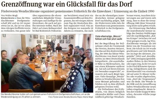 20191009 Volksstimme - Wendischbrome - Förderverein Einheitsfrühstück (Walter Mogk)