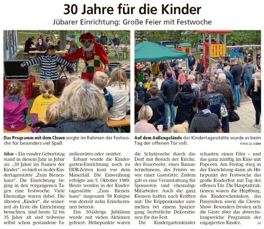 20191015 Altmark Zeitung - Jübar - 30 Jahre Kita Zum Bienenhaus (Kai Zuber)