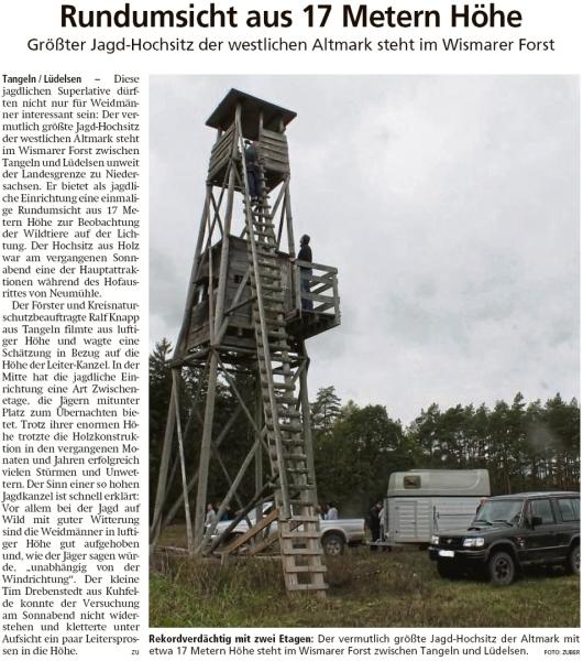 20191018 Altmark Zeitung - Lüdelsen - 17 Meter Hochsitz im Wismarer Forst (Kai Zuber)