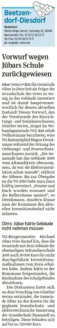 20191028 Volksstimme - Jübar - Grundschulsanierung kostet 720T€ (Walter Mogk)