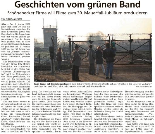 20191101 Altmark Zeitung - Gemeinde Jübar - Filmprojekt zur Grenzöffnung (Christian Reuter)