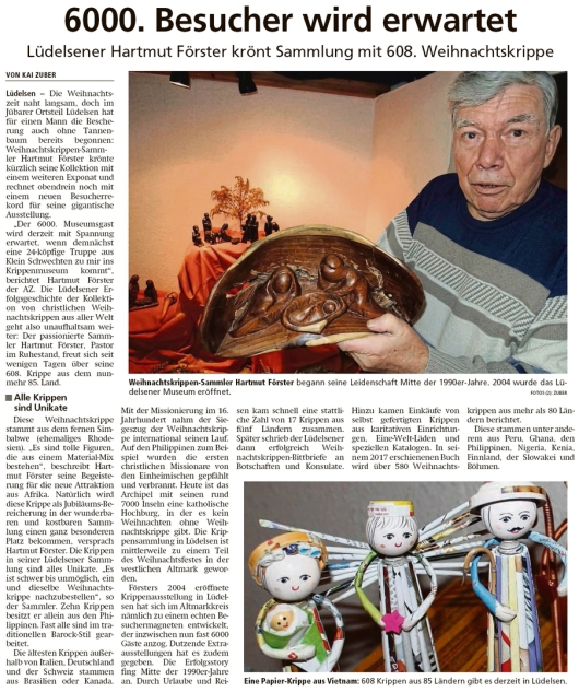 20191105 Altmark Zeitung - Lüdelsen - 6000 Besucher für 608 Krippen (Kai Zuber)