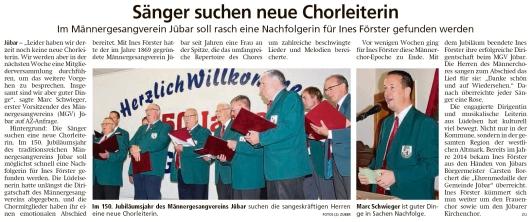 20191107 Altmark Zeitung - Jübar - MGV - Chorleiterin dringend gesucht (Kai Zuber)