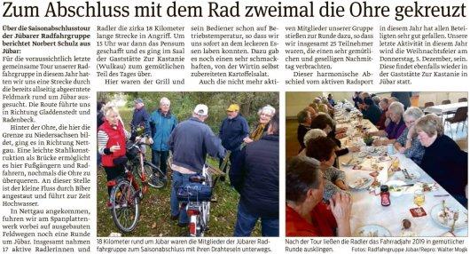 20191111 Volksstimme - Jübar - Jübarer Radfahrgruppe auf Jahresabschlusstour (Walter Mogk)