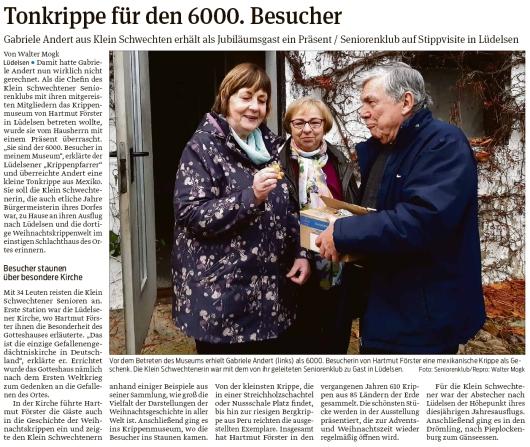 20191116 Volksstimme - Lüdelsen - Krippenmuseum übergibt Jubiläumspräsent (Walter Mogk)