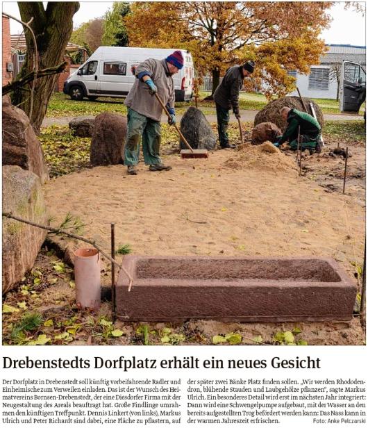 20191120 Volksstimme - Drebenstedt - Heimatverein gibt dem Dorfplatz neues Gesicht (Anke Pelczarski)