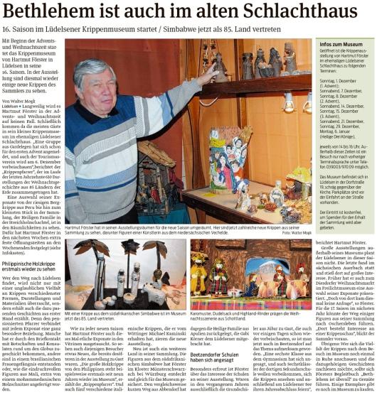 20191129 Volksstimme - Lüdelsen - Krippenmuseum geht in die 16. Saison (Walter Mogk)