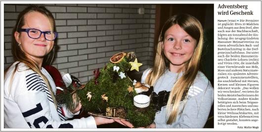 20191202 Volksstimme - Hanum - Back- und Bastelnachmittag des Heimatvereins (Walter Mogk)