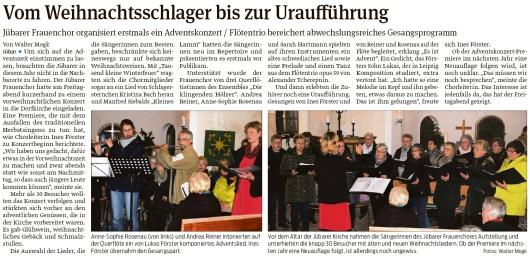 20191202 Volksstimme - Jübar - Frauenchor organisiert erstmals Adventskonzert (Walter Mogk)