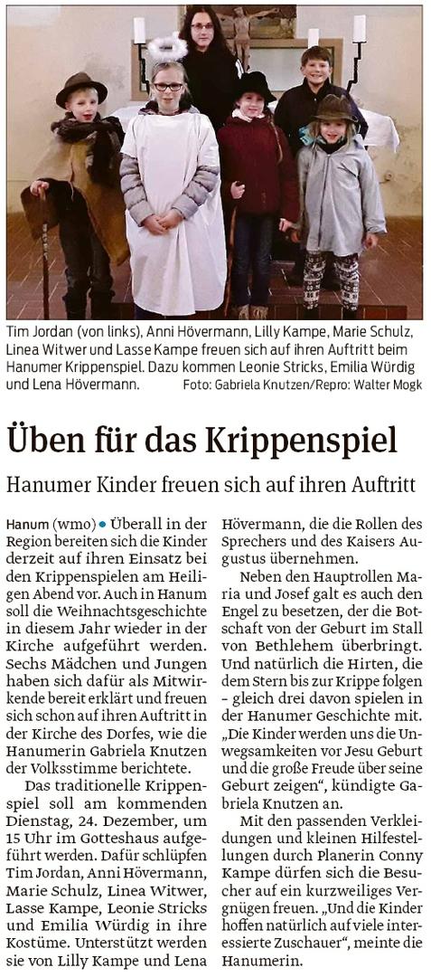 20191218 Volksstimme - Hanum - Krippenspiel am Heiligen Abend (Walter Mogk)