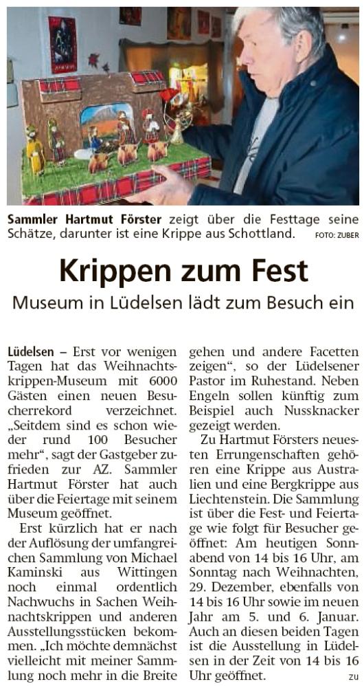 20191221 Altmark Zeitung - Lüdelsen - Schottische Krippe zum Fest im Museum (Kai Zuber)