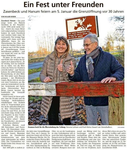 20191228 Altmark Zeitung - Hanum - Zasenbeck und Hanum feiern am 5. Januar die Grenzöffnung (Holger Boden)