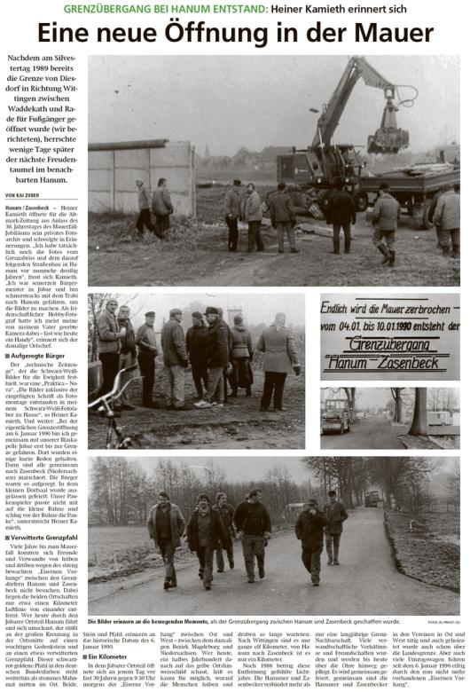 20200102 Altmark Zeitung - Hanum-Zasenbeck - Die Mauer wird geöffnet (Kai Zuber)