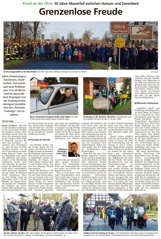 20200107 Altmark Zeitung - 30 Jahre Mauerfall zwischen Hanum und Zasenbeck (Kai Zuber)