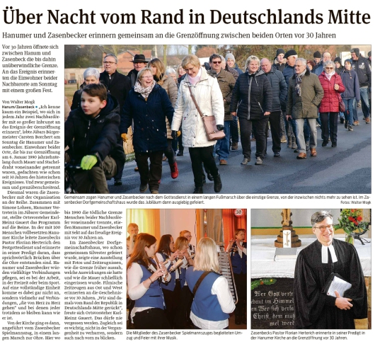 20200107 Volksstimme - 30 Jahre Mauerfall zwischen Hanum und Zasenbeck 2 (Walter Mogk)