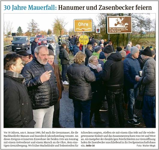 20200107 Volksstimme - 30 Jahre Mauerfall zwischen Hanum und Zasenbeck 1 (Walter Mogk)