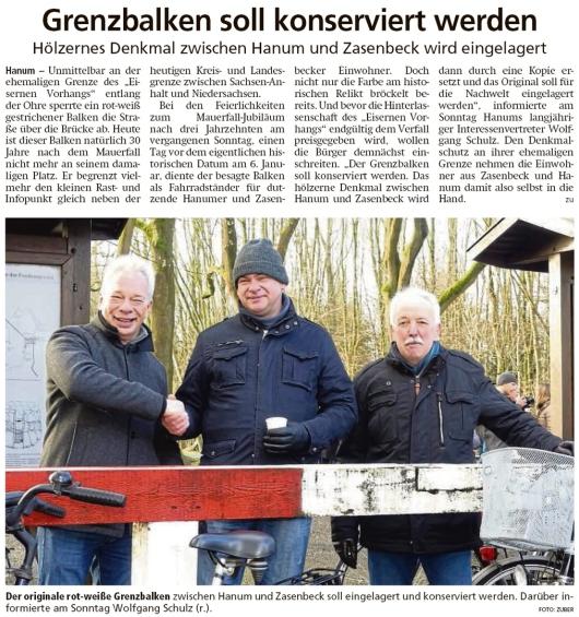 20200108 Altmark Zeitung - Hanum - Grenzbalken wird für die Nachwelt konserviert (Kai Zuber)