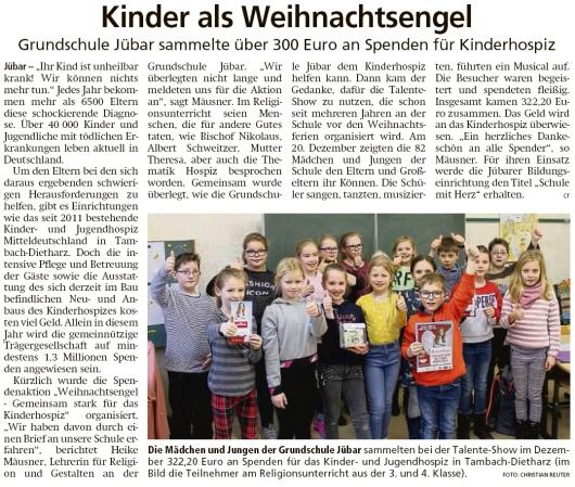20200109 Altmark Zeitung - Jübar - Spenden für Kinderhospiz an Grundschule gesammelt (Christian Reuter)