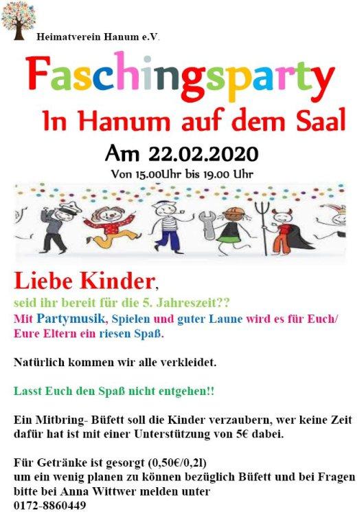 20200110 Heimatverein Hanum - Einladung Faschingsparty 20200222