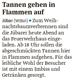 20200111 Volksstimme - Jübar - Weihnachtsbaumverbrennen heute Abend (Walter Mogk)