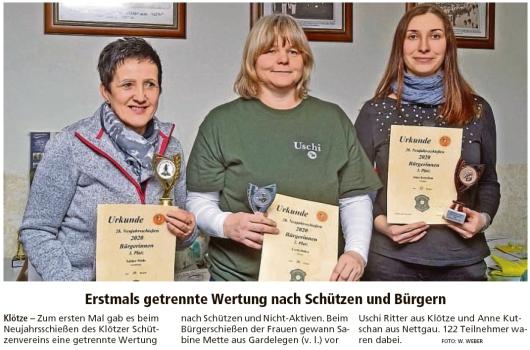 20200113 Altmark Zeitung - Anne Kutschan aus Nettgau ist 3. beim Neujahrsschießen in Klötze (W. Weber)