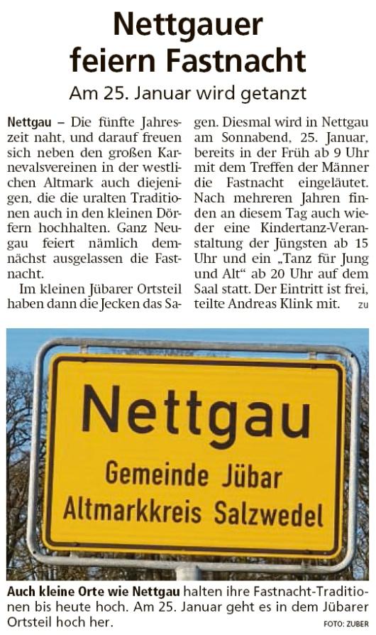 20200114 Altmark Zeitung - Nettgau - Fastnacht-Tross zieht am 25. durch den Ort (Kai Zuber)