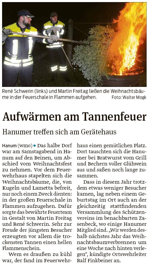 20200114 Volksstimme - Hanum - FFW-HA organisierte das Tannenfeuer (Walter Mogk)
