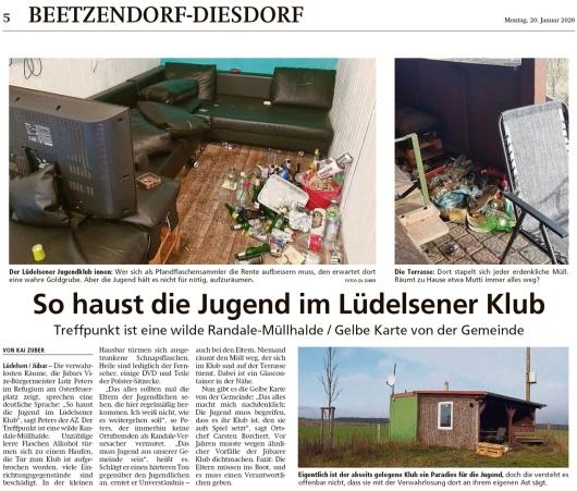 20200120 Altmark Zeitung - Lüdelsen - Gelbe Karte für den Jugendklub (Kai Zuber)