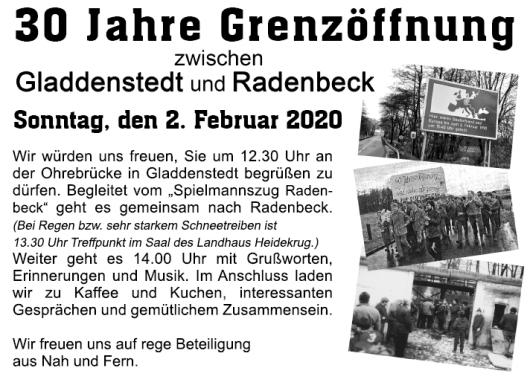20200124 Einladung zur 30-jährigen Grenzöffnung zwischen Gladdenstedt und Radenbeck am 2.2.2020 (Christian Kolbe, ELBE MEDIEN Produktion GmbH)