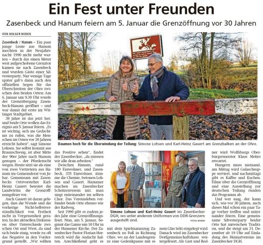20191228 Isenhagener Kreisblatt - Hanum - Zasenbeck und Hanum feiern am 5. Januar die Grenzöffnung (Holger Boden)
