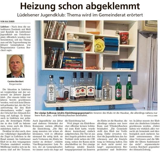 20200128 Altmark Zeitung - Lüdelsen - leere Spirituosenflaschen im Jugendklubraum (Kai Zuber)