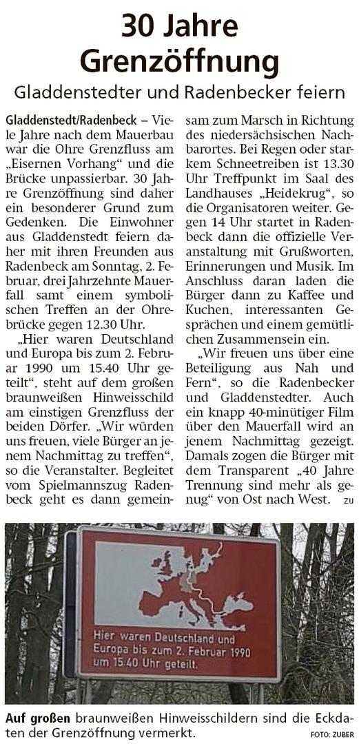 20200128 Altmark Zeitung - Feier zu 30 Jahre Mauerfall zwischen Gladdenstedt und Radenbeck (Kai Zuber)