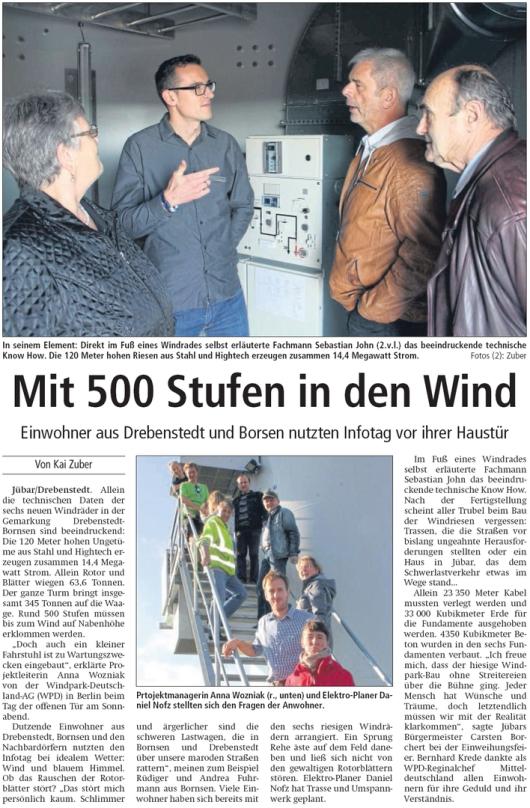 20171016 Altmark Zeitung - Drebenstedt - Infotag an den Windkraftanlagen (Kai Zuber)