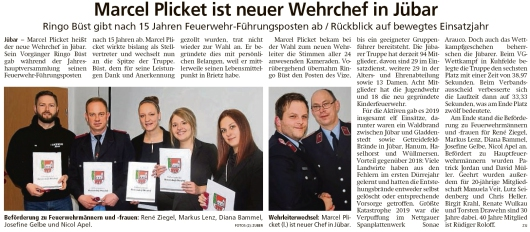 20200130 Altmark Zeitung- Jübar - Marcel Plicket heißt der neue Jübarer Feuerwehrchef (Kai Zuber)