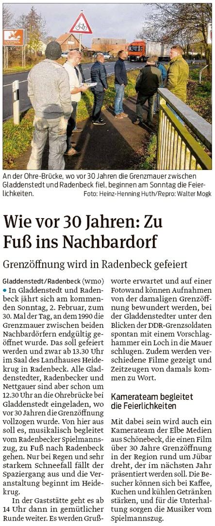 20200130 Volksstimme - Gladdenstedt - 30 Jahre Mauerfall wird in Radenbeck gefeiert (Walter Mogk)