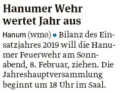 20200130 Volksstimme - Hanum - Feuerwehr lädt zur Jahreshauptversammlung (Walter Mogk)