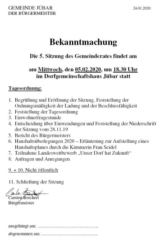 - Gemeinde - 5. Ratsitzung am 05. Februar 2020 -