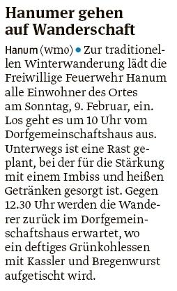 20200131 Volksstimme - Hanum - Feuerwehr lädt zur Winterwanderung ein (Walter Mogk)