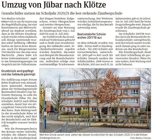 20200201 Volksstimme - Jübar - Grundschulumzug nach Klötze (Markus Schulze)