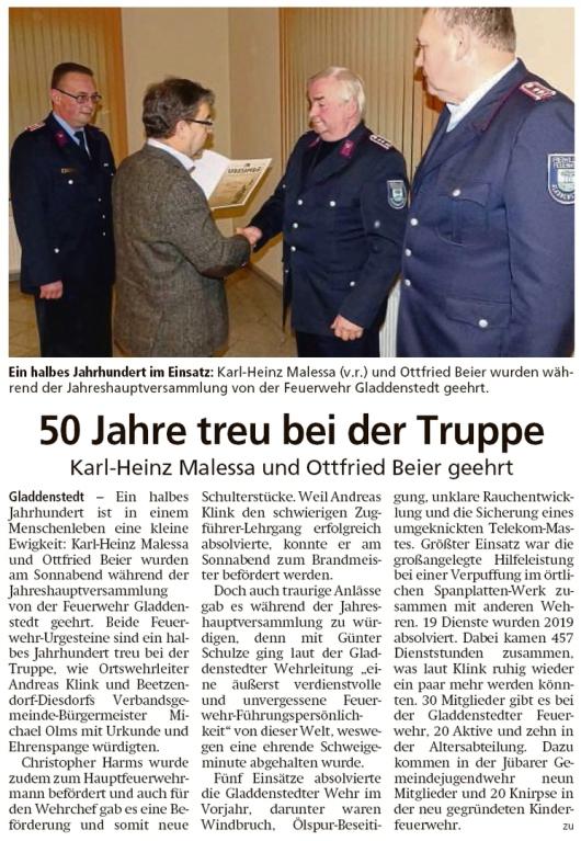 20200203 Altmark Zeitung - Gladdenstedt - FFW - K-H Malessa und O. Beier geehrt (Kai Zuber)