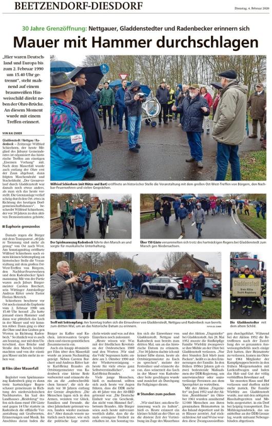 20200204 Altmark Zeitung - Gladdenstedt und Radenbeck - 30. Grenzöffnungsfeier (Kai Zuber)